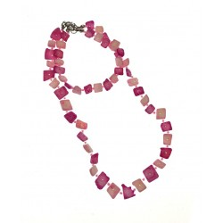 Hot Pink Long Plastic Necklace