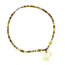 Navy Blue With Yellow Kukui Nut Necklace