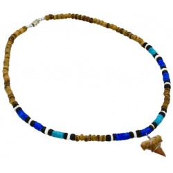 White & Navy Blue Lei Necklace